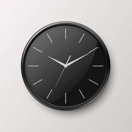 Vector 3d Realistic Simple Round Black Wall Office Clock with Black Dial Icon Closeup Isolated on White Background. Design Template, Mock-up for Branding, Advertise. Front or Top View