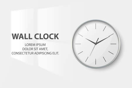 Vector 3d Realistic Simple Round Silver Wall Office Clock with White Dial Closeup Isolated on White Background. Design Template, Mock-up for Branding, Advertise. Front View