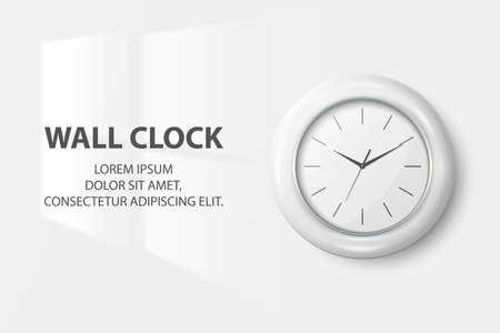 Vector 3d Realistic Simple Round White Wall Office Clock with White Dial Closeup Isolated on White Background. Design Template, Mock-up for Branding, Advertise. Front View