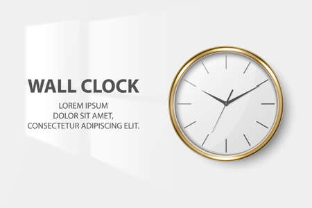 Vector 3d Realistic Simple Round Golden Wall Office Clock with White Dial Closeup Isolated on White Background. Design Template, Mock-up for Branding, Advertise. Front View