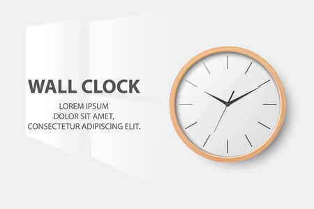 Vector 3d Realistic Simple Round Wooden Wall Office Clock with White Dial Closeup Isolated on White Background. Design Template, Mock-up for Branding, Advertise. Front View Illusztráció