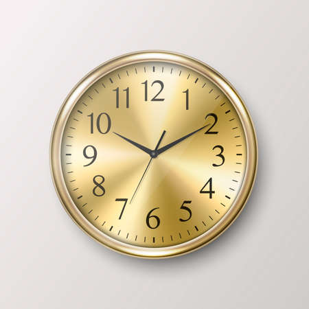Vector 3d Realistic Simple Round Golden Wall Office Clock Icon Closeup Isolated on White Background. Design Template, Mock-up for Branding, Advertise. Front or Top View