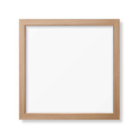 Vector 3d Realistic Square Brown Wooden Simple Modern Frame Icon Closeup Isolated on White Background. It can be used for presentations. Design Template for Mockup, Front View