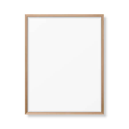 Vector 3d Realistic A4 Brown Wooden Simple Modern Frame Icon Closeup Isolated on White. It can be used for presentations. Design Template for Mockup, Front View