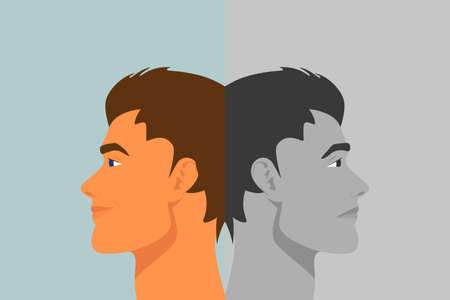 Beautiful Young Man with Bipolar Disorder. Cheerful and Sad, Happy and Unhappy. Two-face Man Showing Two Different Moods Euphoria and Depression. Vector Cartoon in Flat Style. Side View  イラスト・ベクター素材