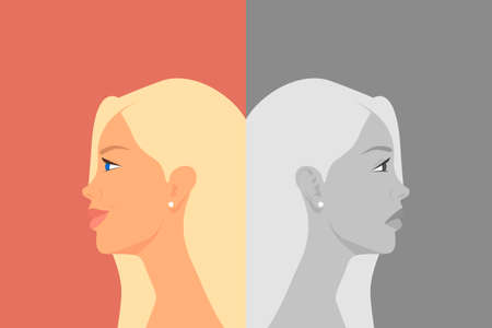 Beautiful Young Woman with Bipolar Disorder. Cheerful and Sad, Happy and Unhappy. Two-face Woman Showing Two Different Moods: Euphoria and Depression. Vector Cartoon in Flat Style. Side View Illustration