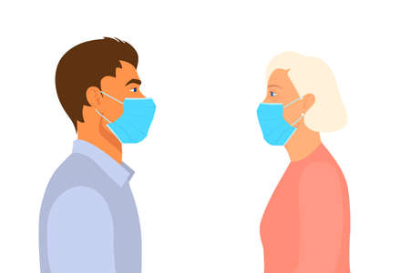 Young Man and Old Woman Look at Each Other in the Respiratory Medical Masks in the Distance. Quarantine, Coronavirus Concept. Son, Mother, Grandmother, Youth, Old Age. Vector in Flat Style. Side View