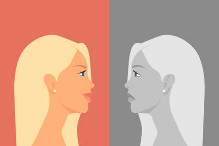 Beautiful Young Woman with Bipolar Disorder. Cheerful and Sad, Happy and Unhappy. Two-face Woman Showing Two Different Moods Euphoria and Depression. Vector Cartoon in Flat Style. Side View