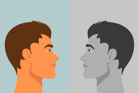 Beautiful Young Man with Bipolar Disorder. Cheerful and Sad, Happy and Unhappy. Two-face Man Showing Two Different Moods Euphoria and Depression. Vector Cartoon in Flat Style. Side View 矢量图像