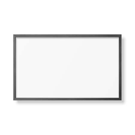 Vector 3d Realistic Horizontal Black Wooden Simple Modern Frame Icon Closeup Isolated on White. It can be used for presentations. Design Template for Mockup, Front View