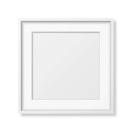 Vector 3d Realistic Square White Wooden Simple Modern Frame Icon Closeup Isolated on White. It can be used for presentations. Design Template for Mockup, Front View