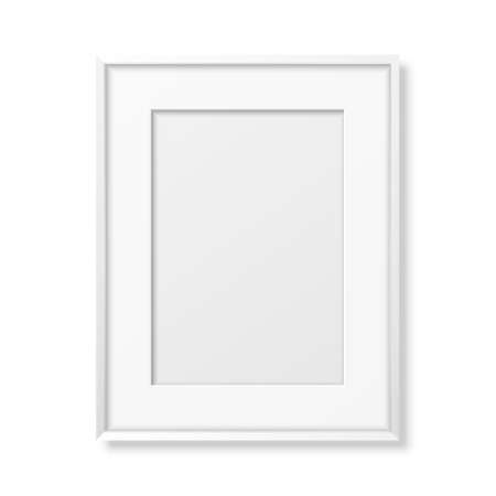 Vector 3d Realistic A4 White Wooden Simple Modern Frame Icon Closeup Isolated on White. It can be used for presentations. Design Template for Mockup, Front View