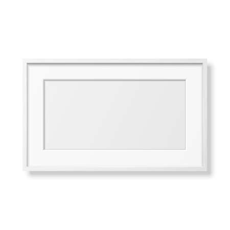 Vector 3d Realistic Horizontal White Wooden Simple Modern Frame Icon Closeup Isolated on White. It can be used for presentations. Design Template for Mockup, Front View 矢量图像