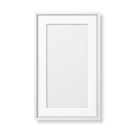Vector 3d Realistic Vertical White Wooden Simple Modern Frame Icon Closeup Isolated on White. It can be used for presentations. Design Template for Mockup, Front View