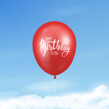 Vector 3d Realistic Glossy Red Balloon with Ribbon and Happy Birthday Message Closeup on Blue Sky Background. Flying Balloon in the Sky. Design Template for Anniversary, Birthday Postcard, Banner Vector Illustration