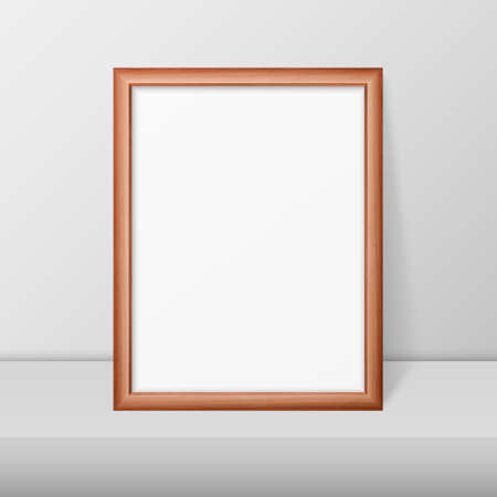 Vector 3d Realistic A4 Brown Wooden Simple Modern Frame on a White Shelf or Table Against a White Wall. It can be used for presentations. Design Template for Mockup, Front View