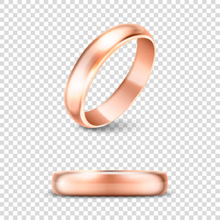 3d Realistic Gold Metal Wedding Ring Icon Set Closeup Isolated on Transparent Background. Design Template of Shiny Golden Rings.