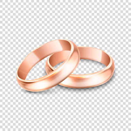3d Realistic Gold Metal Wedding Ring Icon Set Closeup Isolated on Transparent Background. Design Template of Shiny Golden Rings. Vektorové ilustrace