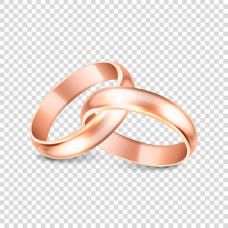 3d Realistic Gold Metal Wedding Ring Icon Set Closeup Isolated on Transparent Background. Design Template of Shiny Golden Rings. Ilustración de vector