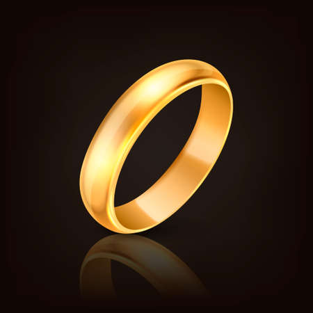 3d Realistic Gold Metal Wedding Ring Icon with Reflection Closeup Isolated on Dark Black Background. Design Template of Shiny Golden Ring