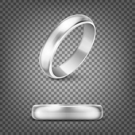 3d Realistic Silver Metal Wedding Ring Icon Set Closeup Isolated on Transparency Grid Background.