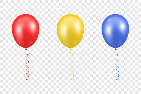 3d Realistic Red, Yellow and Blue Balloon with Ribbon Set Closeup Isolated on Transparent Background.