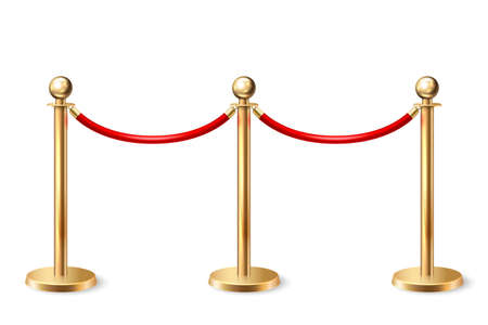 Vector 3d Realistic Fence for the Red Carpet Closeup Isolated on White Background. Red Barrier Rope. Golden pole. Front View. Luxury, VIP concept. Equipment for Events