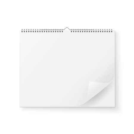 Vector 3d Realistic Paper White Blank Wall Calendar with Spring Icon and Folded Sheet Closeup Isolated on White Background. Copy Space. Design Template, Mockup, Top View Ilustração