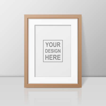Vector 3d Realistic A4 Brown Wooden Simple Modern Frame on a Glossy White Shelf or Table with Reflection Against a White Wall. It can be used for presentations.