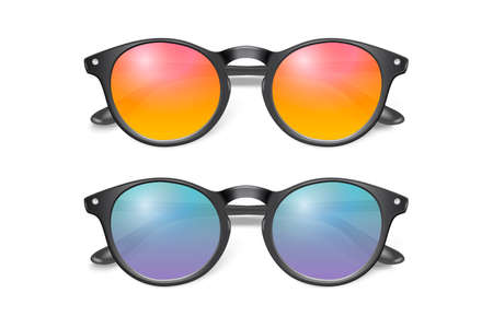 Vector 3d Realistic Plastic Round Black Rimmed Eye Sunglasses Set Closeup Isolated on White Background. Women, Men, Unisex Accessory. Optics, Health Concept. Design Template, Mockup. Top View Vector Illustration