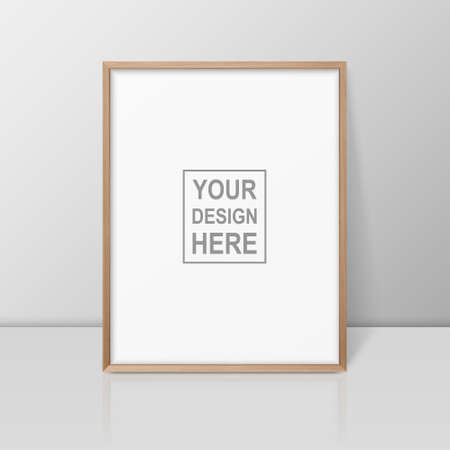 Vector 3d Realistic A4 Brown Wooden Simple Modern Frame on a Glossy White Shelf or Table with Reflection Against a White Wall. It can be used for presentations. Design Template for Mockup, Front View