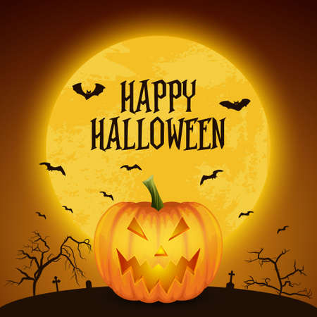 Happy Halloween Banner with Pumkin. VectorCartoon Halloween Pumkin Lantern with Funny Face on Dark Night Cemetery Background. Front View. Design Template. Autumn Holidays, Halloween Concept. Иллюстрация
