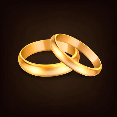 Vector 3d Realistic Gold Metal Wedding Rings for Couple Closeup Isolated on Black Background. Design Template of Shiny Golden Rings. Clipart, Mockup. Side, Front View