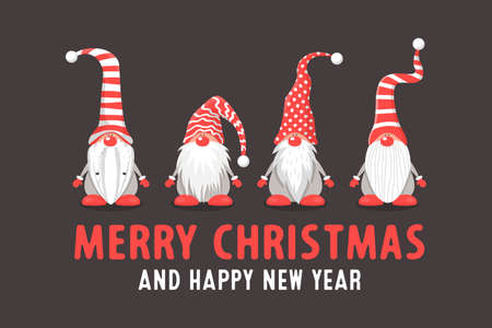 Merry Christmas Postcard. Four Vector Christmas Cute Gnomes with Red Caps in Flat Style on Dark Background. Dwarfs Design Template for Merry Christmas and Happy New Year Card. Cartoon Kids Characters