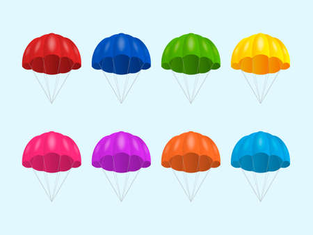 Vector 3d Realistic Colored Parachute Icon Set Isolated. Design Template for Delivery Services, Post, E-Commerce, Sport Concept, Web Banner, mockup. Front View