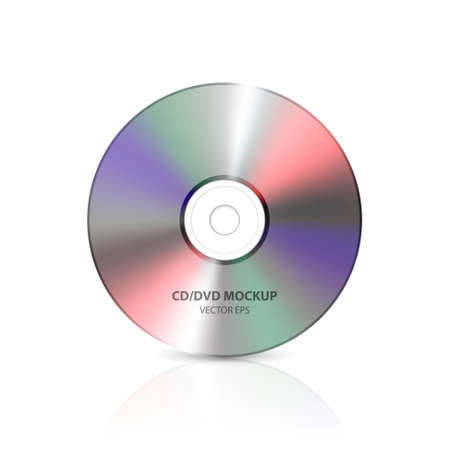 Vector 3d Realistic Multicolor Blank CD, DVD Closeup Isolated on White Background with Reflection. Design Template for Mockup, Copy Space. Front View