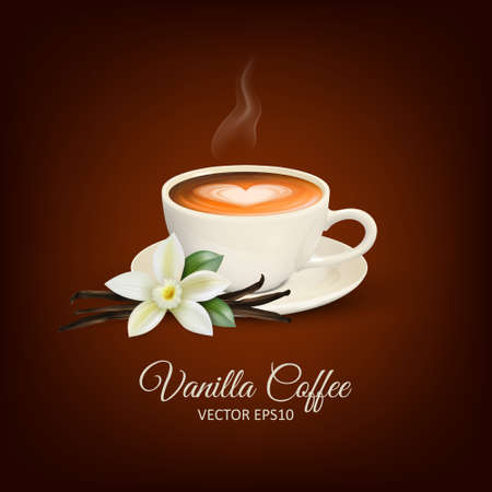 Vector 3d Realistic White Porcelain Ceramic Mug, Hot Milk Coffee, Foam, Heart Pattern and Smoke. Vanilla Flower. Capuccino, Latte. Stock Vector Illustration. Design Template