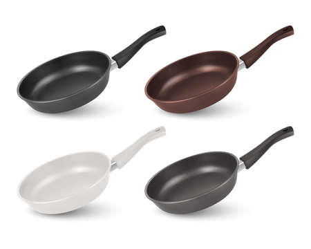 Vector 3d Realistic Black, Brown, White and Gray Empty Frying Pan Icon Set Isolated on White Background. Design Template, Mockup