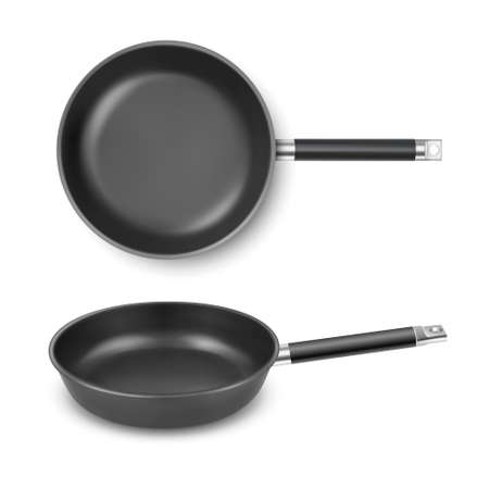 Vector 3d Realistic Black Empty Frying Pan Icon Set Isolated on White Background. Design Template for Mockup. Food, Breakfast Concept. Top and Front or Side View