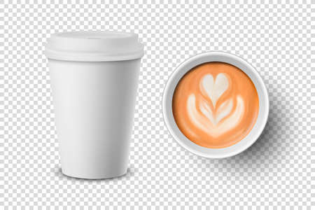 Vector 3d Realistic Paper White Disposable Cup Set Isolated with Milk Coffee Foam, Flower, Heart Pattern. Latte, Capuccino. Stock Vector Illustration. Design Template. Top and Front View