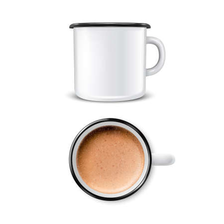 Vector 3d Realistic Enamel Metal Blank White Mug with Foam Milk Coffee Inside Isolated on White Background. Latte, Capuccino. Front and Top View. Design Template for Mock up