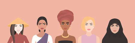 Five Women of Multi-Ethnic, Different Nationalities Cultures Standing Together. African, Asian, European, Arab.