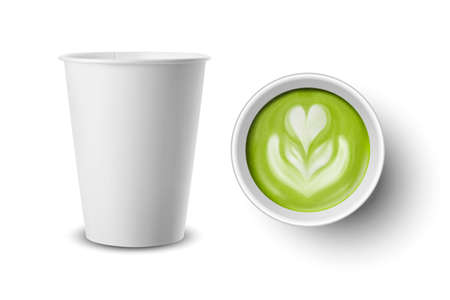 Vector 3d Realistic Paper White Disposable Cup Set Isolated with Green Milk Matcha Foam, Flower, Heart Pattern. Stock Vector Illustration. Design Template. Top and Front View