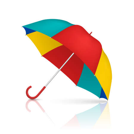 Vector 3d Realistic Render Multicolot Blank Umbrella Icon Closeup Isolated on White Background. Design Template of Opened Parasol for Mock-up, Branding, Advertise etc. Front View Ilustração