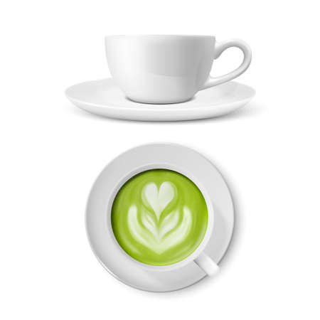 Vector 3d Realistic Ceramic White Coffee Mug, Cup and Saucer Isolated on White Background. Green Milk Matcha, Foam Flower, Heart Pattern. Design Template. Front and Top View