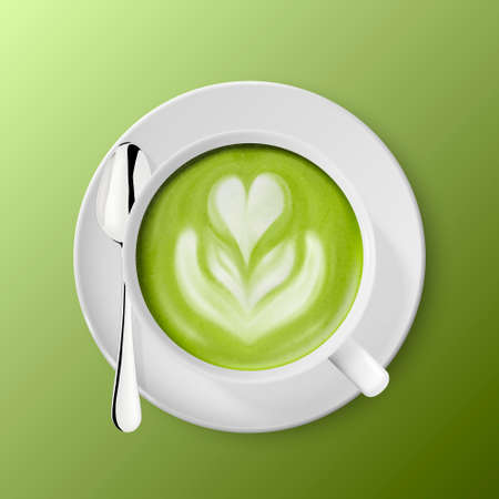Vector 3d Realistic Ceramic White Coffee Mug, Cup, Saucer and Teaspoon Isolated on Green Background. Green Milk Matcha, Foam Flower, Heart Pattern. Design Template. Top View