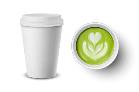 Vector 3d Realistic Paper White Disposable Cup with Lid Set Isolated. Green Milk Matcha Foam, Flower, Heart Pattern. Stock Vector Illustration. Design Template. Top and Front View