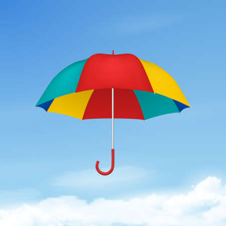 Vector 3d Realistic Render Multicolot Blank Umbrella on Blue Sky Background. Design Template of Opened Parasol for Mock-up, Branding, Advertise etc. Freedom, Weather Concept. Front View