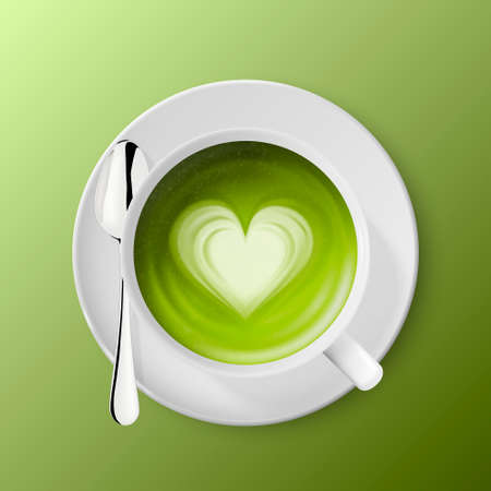 Vector 3d Realistic Ceramic White Coffee Mug, Cup, Saucer and Teaspoon Isolated on Green Background. Green Milk Matcha, Foam Heart Pattern. Design Template. Top View Stock Illustratie