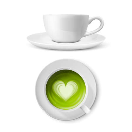 Vector 3d Realistic Ceramic White Coffee Mug, Cup and Saucer Isolated on White Background. Green Milk Matcha, Foam Heart Pattern. Design Template. Front and Top View